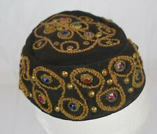 Antique Pakistani? Muslim Kufi Hat With Embroidery and Jewels Traditional