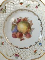 "Vtg Schumann Bavaria Pierced Reticulated 7 1/2"" Plate, Fruits Design, Gold Trim."