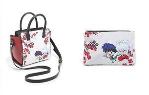 InuYasha Chibi Kagome & InuYasha Satchel Bag Bonus Floral Makeup Bag
