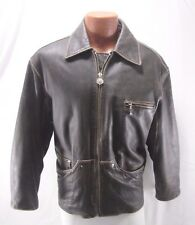 Authentic Winlit 1969 Distressed Brown Leather Biker Bomber Jacket Size Medium