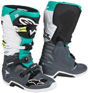 Alpinestars Tech 7 Motocross Boots Dark Gray Teal White - New! Free Shipping!