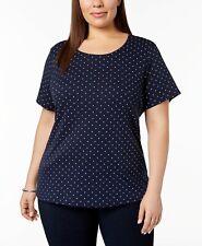 Karen Scott Women's Plus Size Scoop Neck Short Sleeve Tops,