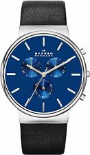 Skagen Men's Ancher Refined Chronograph Watch, Blue Dial, Leather Strap, SKW6105