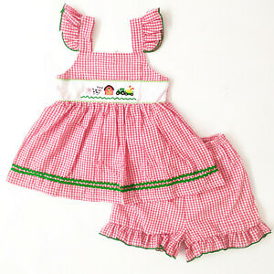 NEW Boutique Girls Embroidered Farm Red Gingham Outfit Set