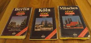 3 x Stadtpläne Stadtplan Faltplan München + Berlin + Köln ADAC Cityplan >>>>