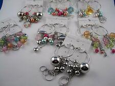 Silberne Creolen mit Kugeln, geschliffenen Perlen, Herzen, Perlen Design wählbar