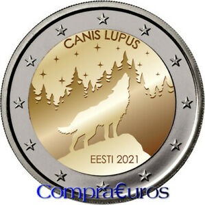 2 Euros Conmemorativos ESTONIA 2021 *El lobo* Sin Circular