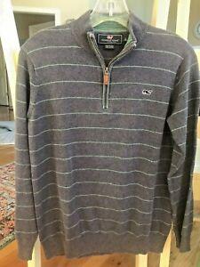 Vineyard Vines Quarter 1/4 Zip Sweater Pullover Boy's XL 18 20 Navy Green Stripe