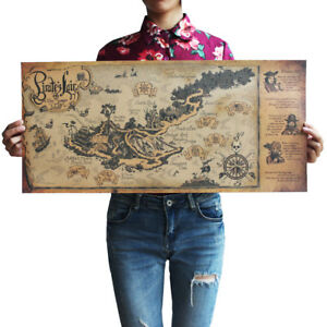 pirate lair map kraft paper retro poster office restaurant wall decor