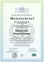 Premium Meisterbrief, Urkunde, Zeugnis, personalisiert und fälschungssicher A3
