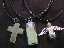 MINT GREEN PROTECTION Jewellery Angel Wishing Dust Cats Eye Cross Necklaces NEW