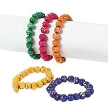 12 Daisy Wooden Bead Bracelets