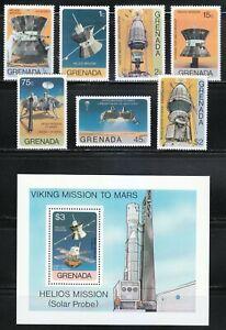 Grenada 1976 Sc 756-763 Helios (solar probe) mission & Viking Mars mission **