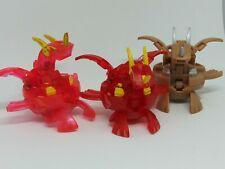 Set of 3 Bakugan Battle Brawlers Red Pyrus Ultra Neo Dragonoid Translucent