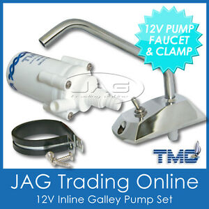 12V TMC GALLEY ELECTRIC WATER PUMP/FAUCET TAP/CLAMP - Boat/Caravan/Motorhome/RV