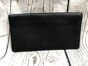 Coach pebbled leather checkbook cover holder wallet Black