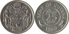 GUYANA: 4 PIECE VINTAGE COIN SET; 1 TO 25 CENTS