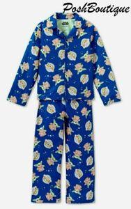 Sz 4-10 Baby Yoda Pajamas The Child Mandalorian Star Wars Girl Boy Button Up NWT