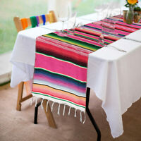 Mexican Serape Table Runner Fringe Cotton Festival Party Home Tablecloth Cover