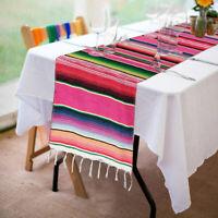 Mexican Serape Table Runner Fringe Cotton Serape Tablecloth Fiesta Wedding Decor