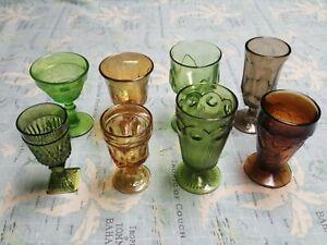 8 - Vintage Mismatched Wine Glass Water Goblets Glasses Colorful
