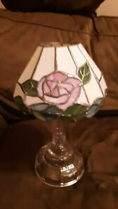 Royal Limited Stained Glass - Crystal Votive Lamp - Rose design * new*