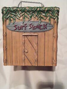 Surf Shack Tiki Hut Tissue Box Holder Surfing Beach Tropical Bamboo Palm Leaves