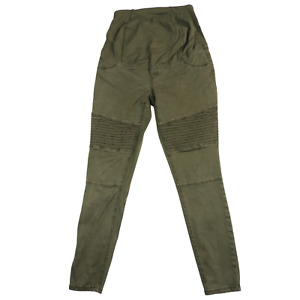 Isabel Maternity Army Green Full Cross Over Panel Stretchy Pants Women's Size 4