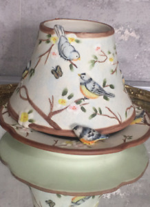 EXCLUSIVELY Made for Yankee Candle springtime birds floral pastel Shade & Plate