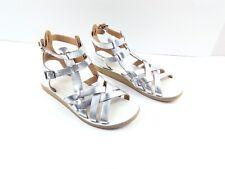 Anthropologie Latigo Women's Gladiator Sandals Wow Silver Flat Summer Shoes 8M