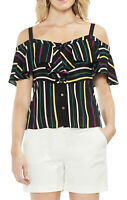NWT Women's Vince Camuto S/S Stripe Cold Shoulder Ruffle Blouse Top Sz XL