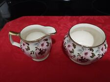 Vintage RARE Sadler 3428 Pink And White Floral Creamer And Sugar Bowl