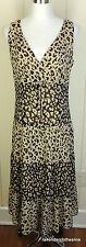 Talbots 8 Pure Silk Cheetah Leopard Animal Calf Length Shift Cocktail Dress