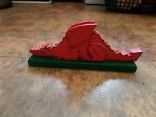 FABULOUS HANDMADE Dragon Pencil Holder Wooden Red & Green VGC Great Gift!!