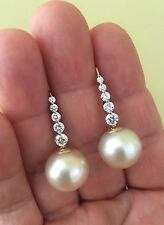 Estate Natural 14.5mm South Sea Pearl Diamond Drop Earrings 14K Yellow Gold