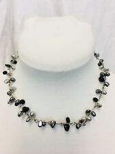 """Silver And Black Faux Pearl Twisted Wire Necklace 16"""""""