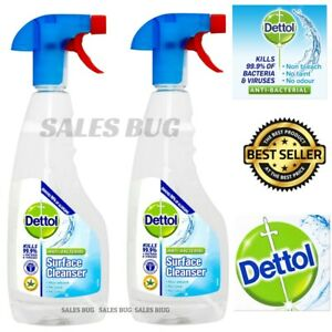 2 X 440ml Dettol Anti-Bacterial Surface Cleanser Spray Kills 99.9% Of Bacteria