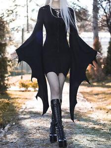 Gothic Punk Sexy Women Irregular Bandage Dress Vampire Cosplay Halloween Costume