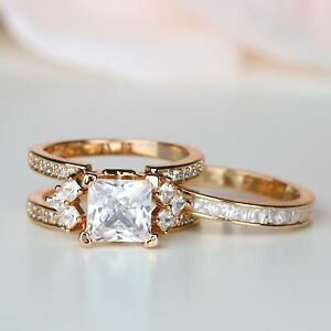 Princess Cut Rose Gold Women Interchangeable Engagement Ring Set Wedding Jewelry