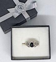 Celtic Ring Trinity Knot Silver 925 Hallmark Black Stone Traditional Heritage