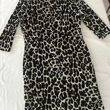 NEW! Nicole Miller SZ 14 Leopard Velour Stretch Dress 3/4 Sleeve Lined MFSR $108