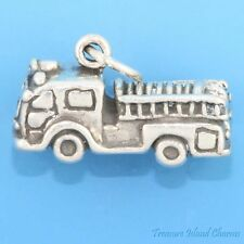 FIRE ENGINE TRUCK 3D .925 Sterling Silver Charm 4.5grams