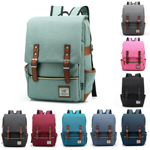 Girl Women Men Canvas Leather Travel Backpack Rucksack Laptop Bookbag School Bag