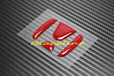 For Honda Steering Wheel Emblem Red Carbon Fiber Decal Filler Civic Accord 34mm
