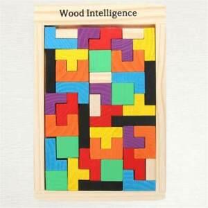 Wooden Tetris Puzzle Tangram Colour Educational Montessori Toys Kids Game