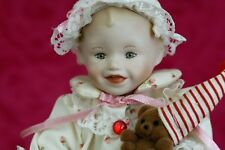 ASHTON DRAKE Porcelain Doll SARAH Miniature Picture Perfect Babies 1987 w/ stand