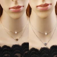Fashion Heart Peart Pendant Bib Choker Chain Statement Necklace Jewelry