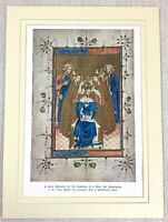 1937 Antique Print Medieval Illuminated Painting Liber Regalis Westminster Abbey