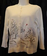 Woman 1X 16/18 White Ivory Cardigan Sweater Embroidered Holiday CJ Banks NWT