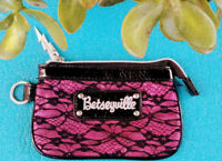 Betsey Johnson Pink Fuchsia Lace Change Purse Excellent Used Condition